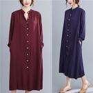 襯衫洋裝 秋季韓版洋裝 寬鬆休閑長袖連身裙 純色中長款大碼襯衫女