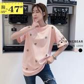 棉T--甜美教主可愛蜜蜂刺繡休閒短袖圓領T恤(黑.粉L-3L)-T377眼圈熊中大尺碼◎