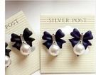 蝴蝶結大珍珠耳環