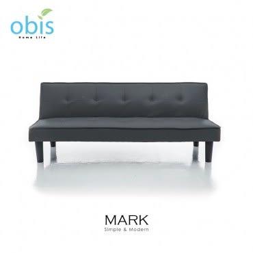 obis MARK 現代風都會皮質沙發床-黑色
