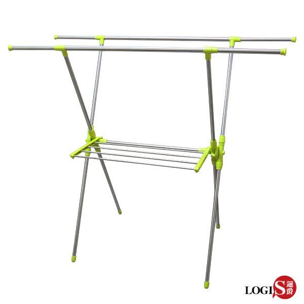LOGIS-日系X型雙桿不鏽鋼伸縮曬衣架吊衣架 吊衣桿 晾衣架 【 202XL】