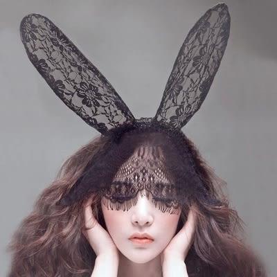 性感情趣內衣高檔蕾絲面紗眼罩制服面具貓女兔耳朵