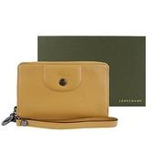 【南紡購物中心】LONGCHAMP LE PLIAGE CUIR系列新款小羊皮手掛式零錢夾(蜜糖)