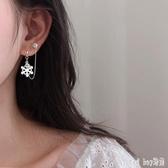 一體式耳線雙耳洞連體耳環女氣質耳釘耳骨上下兩個耳鏈條的多耳飾 qf23916【bad boy時尚】