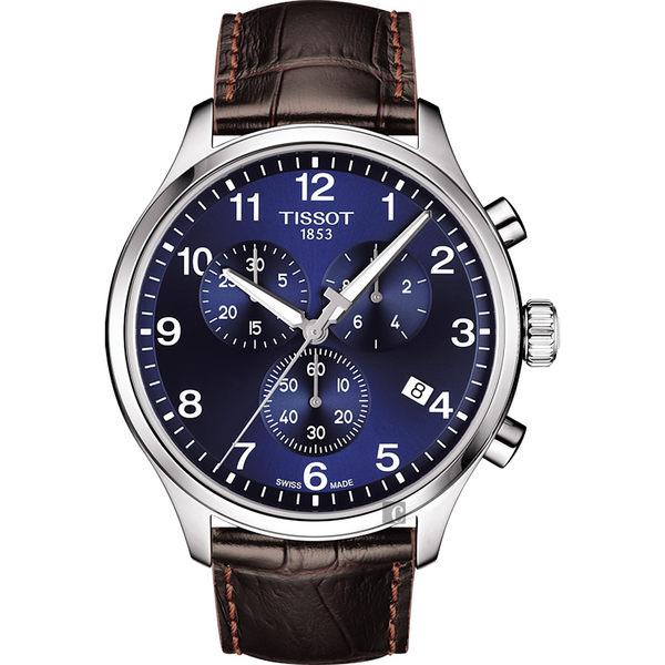 TISSOT天梭 韻馳系列 Chrono XL計時手錶-藍x咖啡/45mm T1166171604700