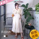 【HC5117】哺乳衣雕花蕾絲V領棉麻洋裝
