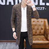 (百貨週年慶)秋裝新款男裝男士毛衣線衣針織開衫男潮修身中長版披風針織外套男