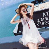 無袖洋裝夏裝新款女民族風刺繡海邊度假裙超仙洋裝小個子顯瘦沙灘裙『全館免運』