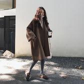 現貨出清 刷毛外套 寬鬆廓形毛呢外套女韓版學生中長款大碼斗篷呢子大衣 黛尼時尚精品 3/23
