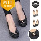 [Here Shoes]MIT台灣製 氣質簡約方格布面 愛心蝴蝶結 娃娃鞋 豆豆底 圓頭包鞋 2色─KG8677