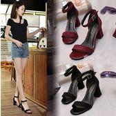 涼鞋女 新款韓版高跟鞋粗跟女夏中跟鞋一字扣帶羅馬涼鞋 鹿角巷
