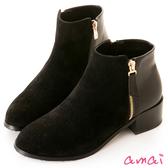 amai拉鏈裝飾拼接粗跟短靴 黑