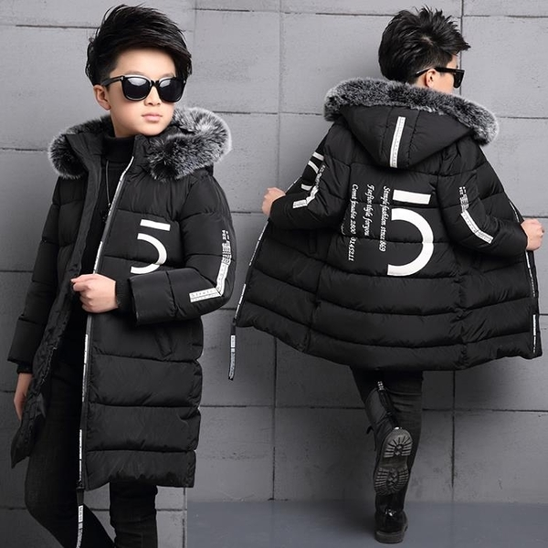男童秋冬新款外套 個性潮流 男童新款棉衣童裝兒童加厚中長款外套中大童冬裝韓版