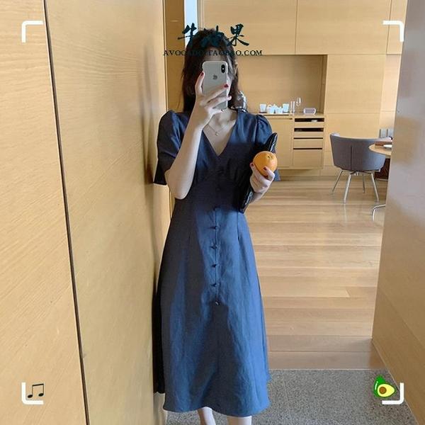 襯衫洋裝 元氣少女v領單排扣連衣裙新款夏復古過膝中長款桔梗裙 - 風尚3C