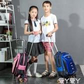 拉桿書包小孩可以拉的拖桿拉桿書包小學生男女童托箱123年級兒童推LX 愛丫愛丫