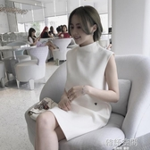 韓版新款氣質OL夏季女裝半高領洋裝無袖夜店性感氣質白裙子