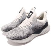 adidas 慢跑鞋 AlphaBOUNCE Beyond M 藍 白 無接縫彈性鞋面 舒適緩震 男鞋 運動鞋【PUMP306】 AQ0575