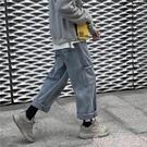 牛仔褲超火cec褲子男寬鬆ins直筒潮牌潮流港風墜感闊腿秋冬款工裝牛仔褲 春季上新