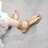 大碼夾趾涼鞋女平底鞋夏季綁帶羅馬海邊沙灘鞋 樂淘淘