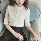 2020夏季新款韓版白色襯衫女設計感小眾寬鬆輕熟中袖襯衣棉麻上衣YQ337【東京衣社】