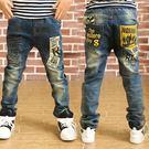 韓版《剪影人貼布》加絨 帥氣牛仔長褲