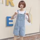 韓范2020學院風寬鬆顯瘦淺色牛仔吊帶褲女學生休閒闊腿短褲連身褲【小艾新品】