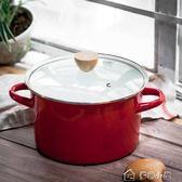 琺瑯 日式4.2L大容量湯鍋搪瓷鍋家用加厚雙耳煲湯鍋電磁爐鍋多色小屋YXS