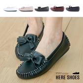 [Here Shoes]休閒鞋-皮質鞋面 精緻立體蝴蝶結 簡約百搭休閒鞋 莫卡辛包鞋豆豆鞋-ANDW2322