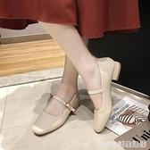 新款復古奶奶鞋粗跟瑪麗珍女鞋豆豆鞋低跟單鞋配裙子的鞋 居家物语