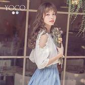 東京著衣【YOCO】經典美型花片露肩圓領上衣-S.M.L(181370)