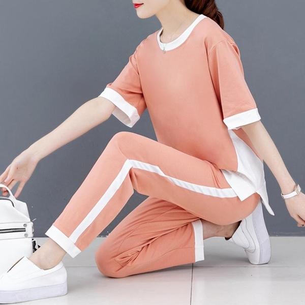休閒運動套裝女夏季新款時尚韓版寬鬆闊腳褲運動服大碼兩件套 快速出貨