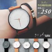 Planet.香港FEIFAN。質感圓點鉚釘素面絨質皮革手錶【tc473】*911 SHOP*