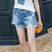 中大尺碼~褲腳鬚鬚設計牛仔短褲(XL~5XL)