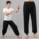 梵媞朵男士寬鬆黑色太極服裝練功褲男家居功夫瑜伽燈籠長褲 快速出貨