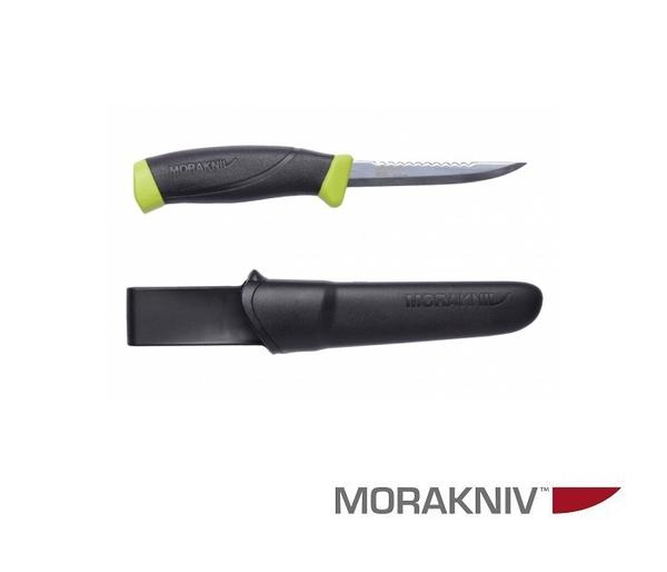 丹大【MORAKNIV】FISHING COMFORT SCALER 098 不鏽鋼戶外魚刀鋸齒刀背 黑/綠 12208