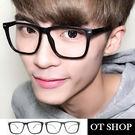 OT SHOP眼鏡框‧台灣製MIT彈簧鏡框復古中性款金屬米釘膠框大方框黑框墨鏡‧現貨七色‧H04