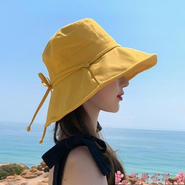 漁夫帽漁夫帽子女夏季小清新顯臉小素色日系ins遮陽防曬紫外線盆帽 芊墨左岸