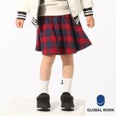 GLOBAL WORK童格紋碎花打褶A字傘狀短褲裙-五色