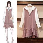 歐美風連身裙洋裝XL-5XL秋裝新款加大碼女裝胖MM减齡百搭荷葉領拼接連衣裙R007-19037
