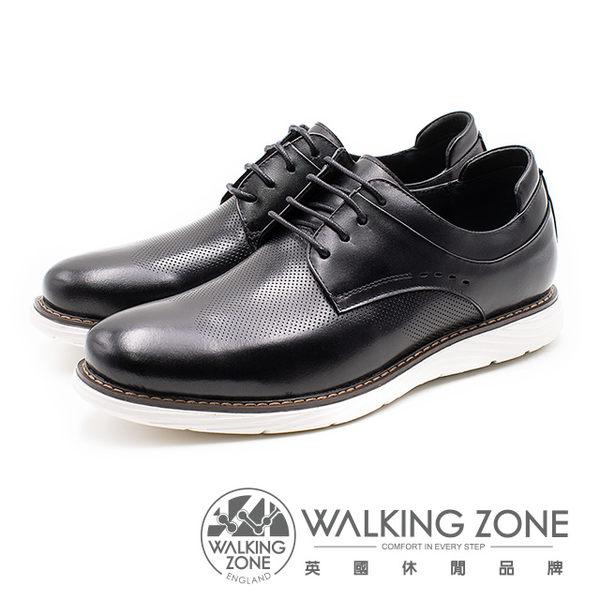 WALKING ZONE 皮革綁帶壓紋休閒鞋 男鞋 - 黑(另有棕)