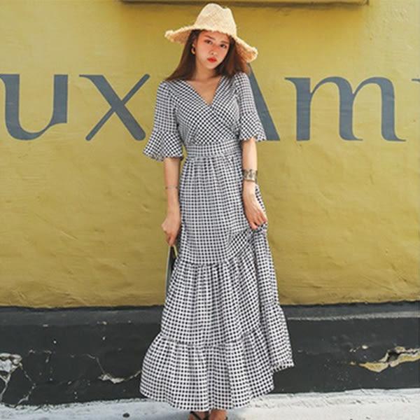 Qmigirl 度假風喇叭袖格子V領優雅連身裙 洋裝【T288】