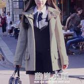 森系小個子毛呢外套夏 2018英倫風學生少女呢子大衣短款chic外套 藍嵐