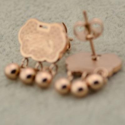 玫瑰金 純銀耳環(耳針式)-長命鎖流行生日情人節禮物女飾品71at25【巴黎精品】