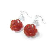 紅瑪瑙盛開玫瑰花純銀耳環