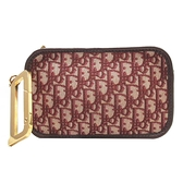 Dior 迪奧 酒紅色緹花帆布手拿包 Diorquake Dior Oblique Clutch Bag 【BRAND OFF】