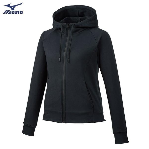 MIZUNO 女裝 外套 套裝 連帽 針織 口袋 內刷毛 保暖 黑【運動世界】 32MC985709