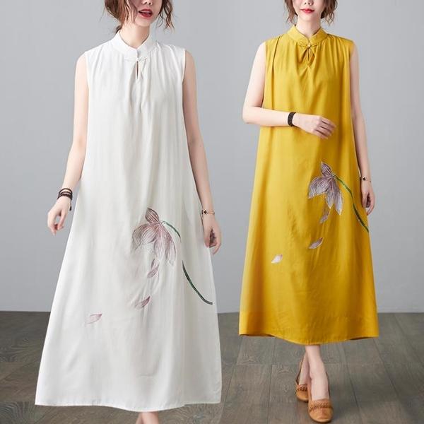 中大尺碼 無袖洋裝 文藝大碼女裝2021年夏季新款復古無袖寬鬆顯瘦中長款連身裙胖妹妹