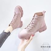 馬丁靴女透氣英倫風百搭高筒帆布短靴子【時尚大衣櫥】