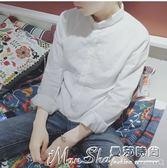 亞麻長袖襯衫白色男韓版小領修身白襯衣青少年秋季純棉寸衫亞麻休閒潮 曼莎時尚