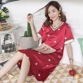短袖睡裙女士夏季薄款甜美可愛家居服夏天韓版大碼休閒裝 XN2431【優品良鋪】